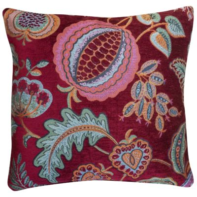 Coleton Meadow Chenille Cushion in Red