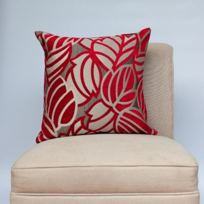 Art Deco Leaves Cushion in Red