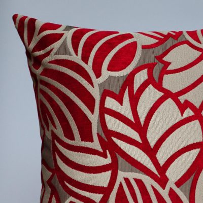 Art Deco Leaves Extra-Large Cushion in Red