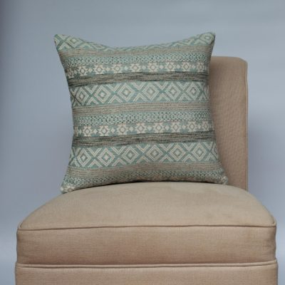 Maya Aztec Jacquard Cushion in Sky Blue