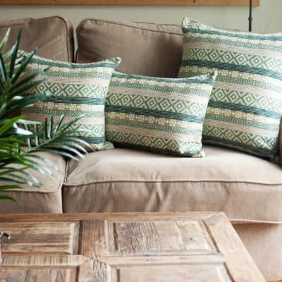Maya Aztec Jacquard Cushion in Grass