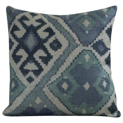 Linen Kilim Cushion in Blue