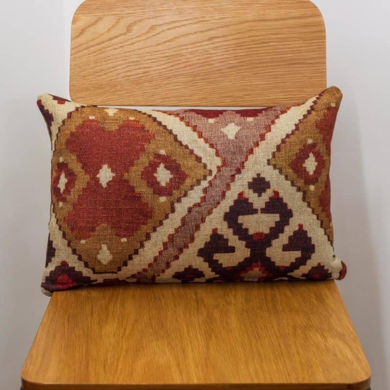 Linen Kilim Boudoir Cushion in Terracotta