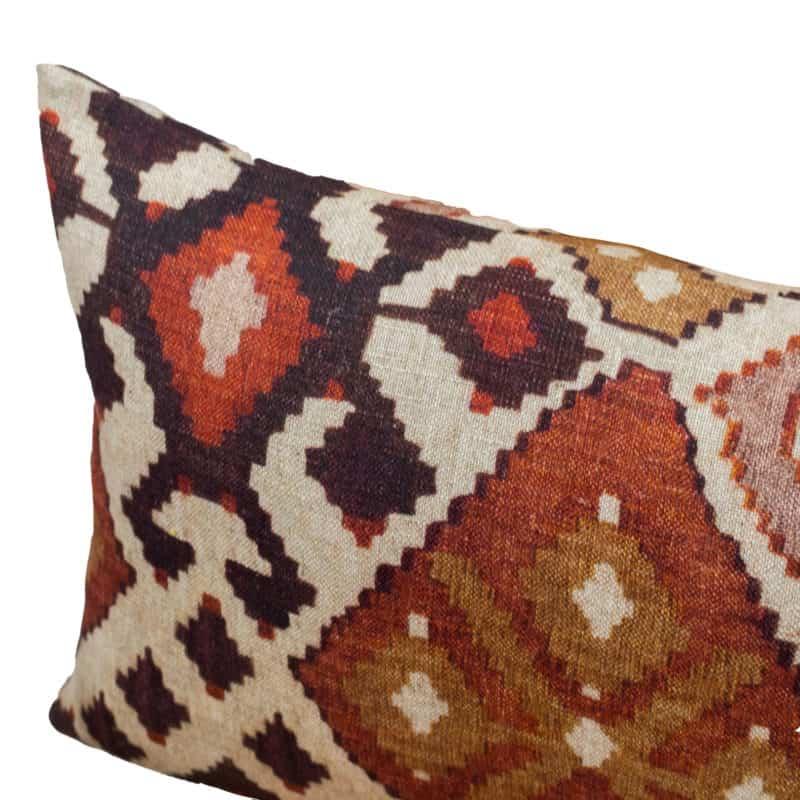 Linen Kilim XL Rectangular Cushion in Terracotta