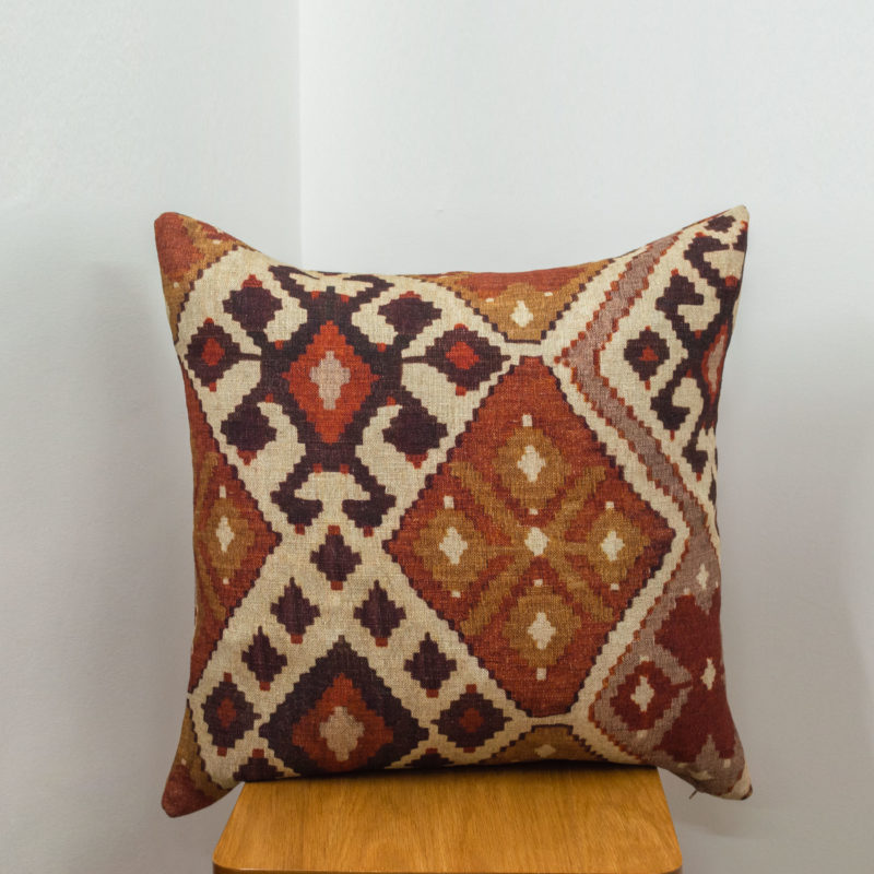 Linen Kilim Extra-Large Cushion in Terracotta