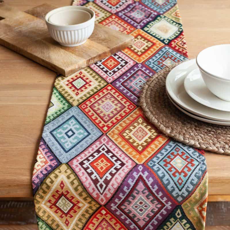 Kilim Weave Table Runner in Rainbow