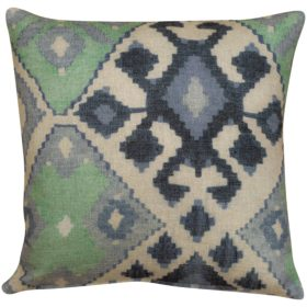 Linen Kilim Cushion in Green & Blue