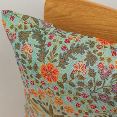 Morris Style Leaves and Berries Cushion in Duck Egg Blue