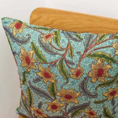 Statement Arts and Crafts Tapestry Floral Cushion in Duck Egg Blue