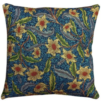 Statement Arts and Crafts Tapestry Floral Cushion in Indigo Blue