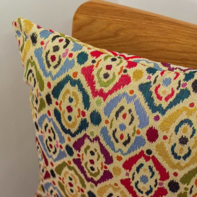 Abstract Multicoloured Ink Blot Tapestry Cushion