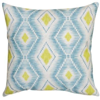 Berlian Ikat Printed Cushion in Duck Egg and Ochre