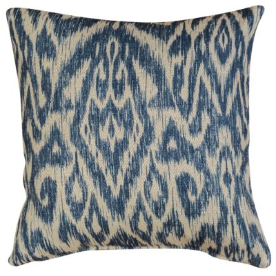 Textured Linen Blend Abstract Ikat Cushion Cover in Marine Blue