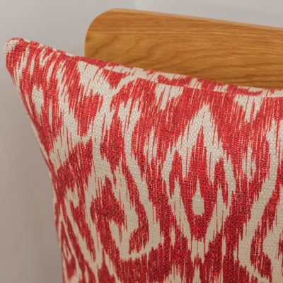 Textured Linen Blend Abstract Ikat Cushion Cover in Red