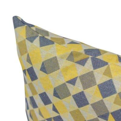 Harlequin Tapestry Cushion in Ochre Yellow