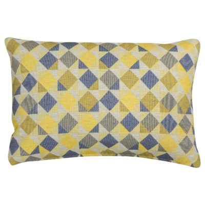 Harlequin Tapestry Boudoir Cushion in Ochre Yellow
