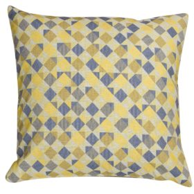 Harlequin Tapestry Extra-Large Cushion in Ochre Yellow