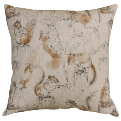 Red Squirrel Linen Look Cushion