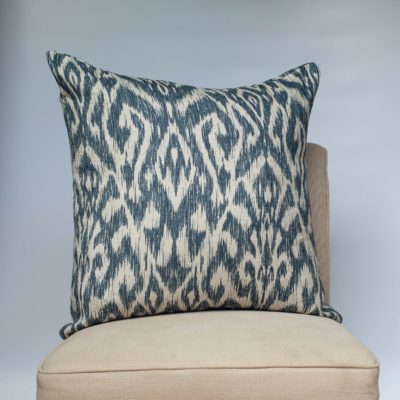 Textured Linen Blend Abstract Ikat Extra-Large Cushion in Marine Blue