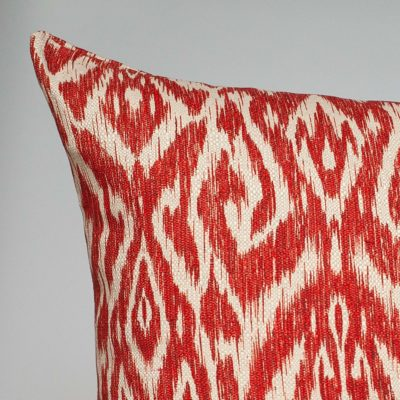 Textured Linen Blend Abstract Ikat Extra-Large Cushion in Red