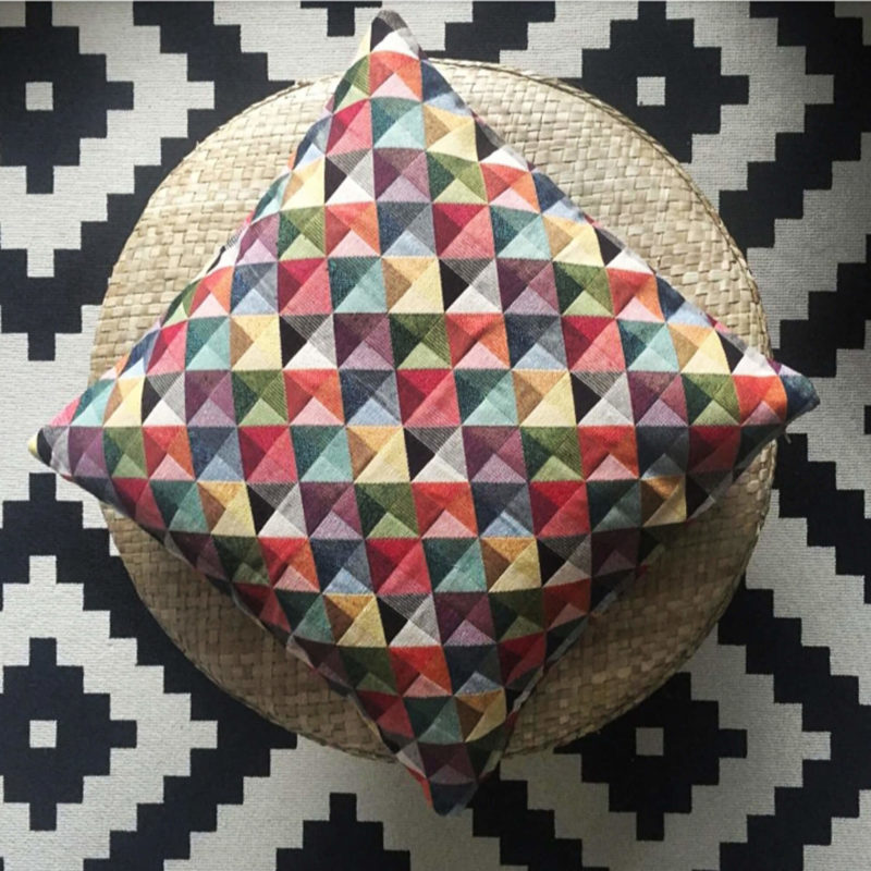 Triangle Harlequin Geometric Tapestry Cushion
