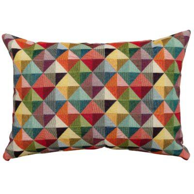 Triangle Harlequin Geometric Tapestry Boudoir Cushion