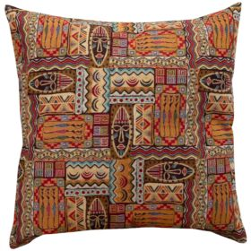 XL African Mask Tapestry Cushion