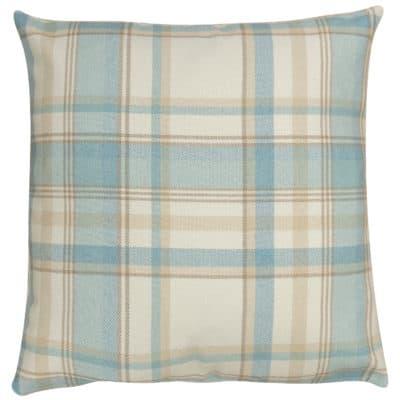 Tartan Check XL Cushion in Duck Egg Blue