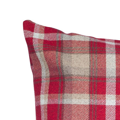 Tartan Check XL Cushion in Red