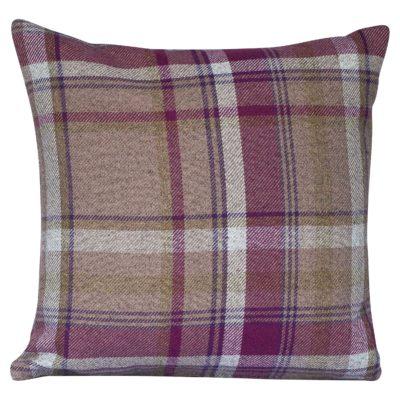 Tartan Check Cushion in Heather and Green