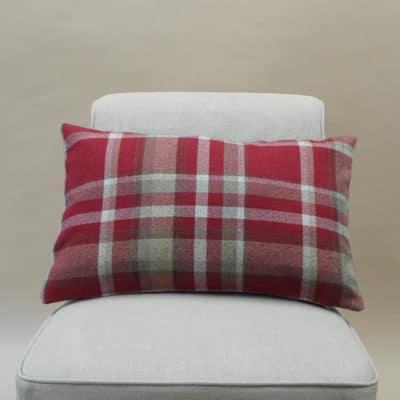 Tartan Check XL Rectangular Cushion in Red