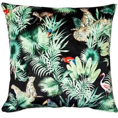 Loreto Rainforest Velvet Cushion in Black