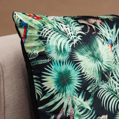 Loreto Rainforest Velvet Extra-Large Cushion in Black