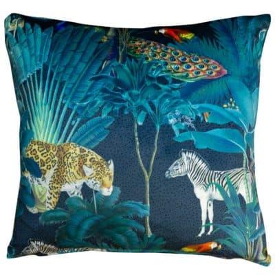 Palm Forest Velvet Cushion in Teal