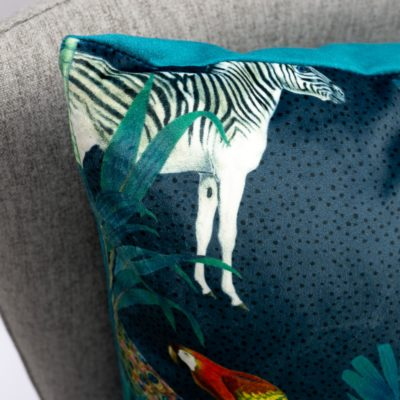 Palm Forest Velvet Extra-Large Cushion in Teal