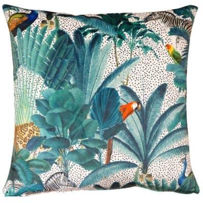 Palm Forest Velvet Cushion in Natural