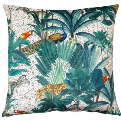 Palm Forest Velvet Extra-Large Cushion in Natural