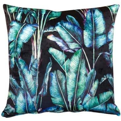 Rios Velvet Jungle Cushion in Black