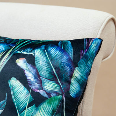 Rios Velvet Jungle XL Rectangular Cushion in Black
