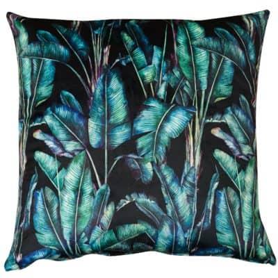 Rios Velvet Jungle Extra-Large Cushion in Black