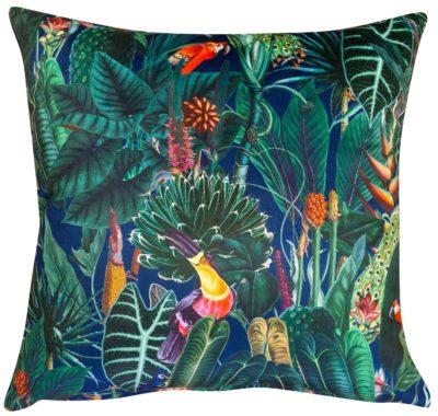 Lima Jungle Birds Velvet Cushion in Navy