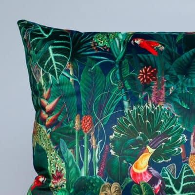 Lima Jungle Birds Velvet Extra-Large Cushion in Navy