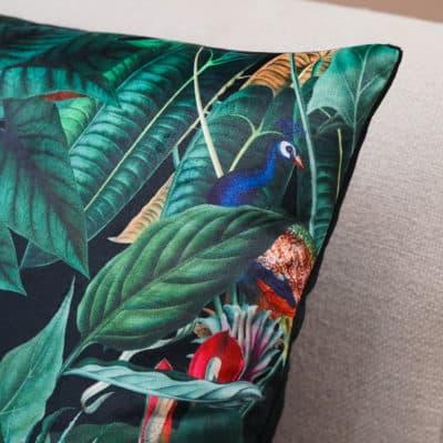 Lima Jungle Birds Velvet Cushion in Black