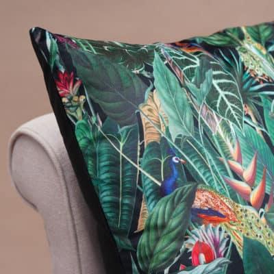 Lima Jungle Birds Velvet Extra-Large Cushion in Black