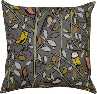 XL Illustrated Bird on a Brand Cushion in Charcoal