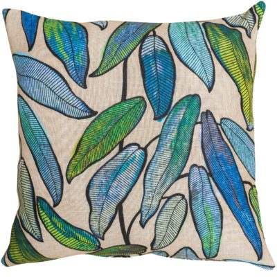 Linen Leaves Cushion in Petrol Blue and Hessian