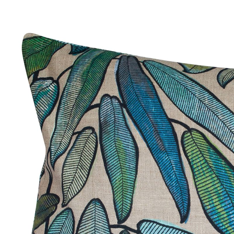 Extra-Large Linen Leaves Cushion in Petrol Blue and Hessian