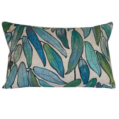 Linen Leaves XL Rectangular Cushion in Petrol Blue and Hessian