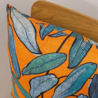 Linen Leaves Cushion in Petrol Blue and Tango