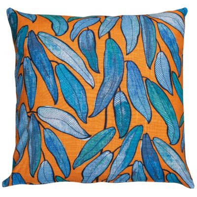 Extra-Large Linen Leaves Cushion in Petrol Blue and Tango
